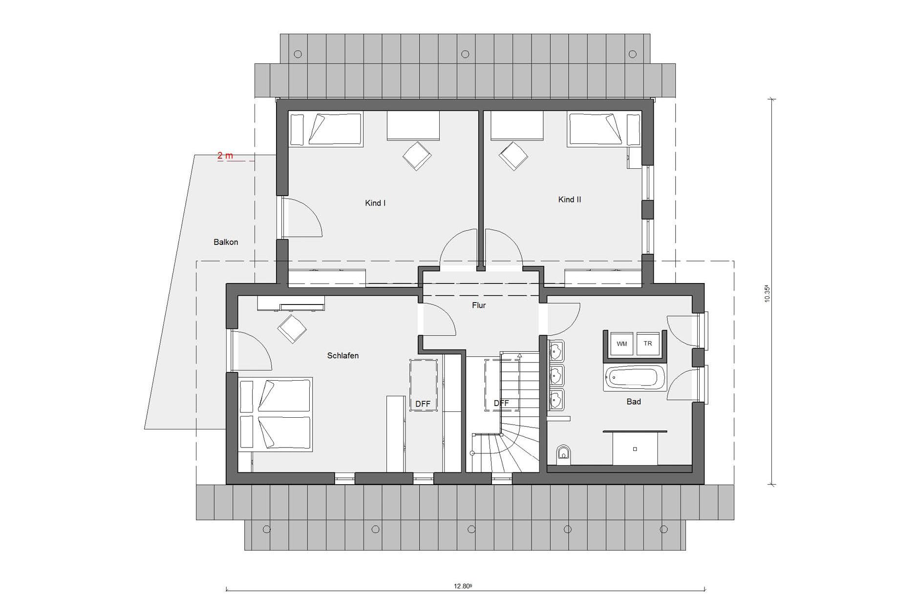 Dachgeschoss Grundriss Young Family Home 2